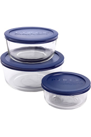 Pyrex glass round storage set 3pc