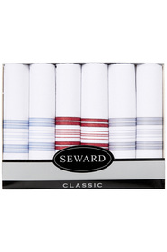 SEWARD Men's box 6 woven handkerchiefs