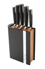 STANLEY  ROGERS Encased 6 piece rubberwood and bamboo knife block