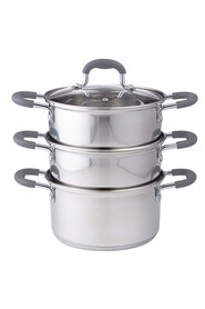 DAVIS AND WADELL Essentials 4 piece stainless steel 3 tier steamer with glass lid d16cm