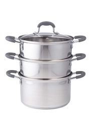 DAVIS AND WADELL Essentials 4 piece stainless steel 3 tier steamer with glass lid d18cm