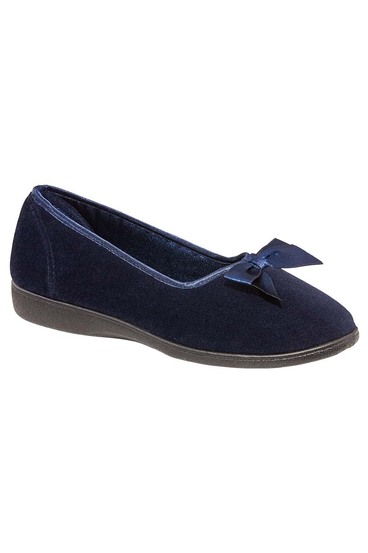 Grosby ruby bow front velour slipper