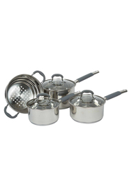 DAVIS AND WADELL Essentials stainless steel 4 piece cookset with glass lids
