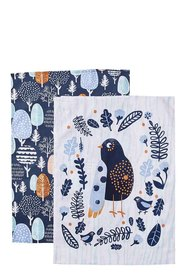 Mozi forest wren tea towel set