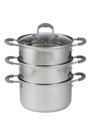 DAVIS AND WADELL Essentials 4 piece stainless steel 3 tier steamer with glass lid d20cm