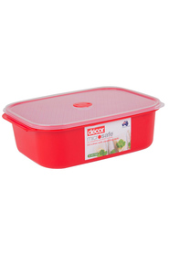 DECOR Microsafe Microwavable Oblong Food Storage Container With Steaming Rack 3.5 Litre
