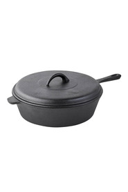 SMITH & NOBEL  Raw cast iron 29.5cm frypan with lid