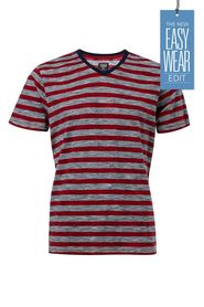 URBAN JEANS CO Slub block stripe v neck tshirt