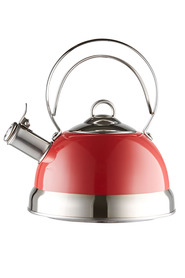 S+n 3l red s/s kettle w/dbl wire handle