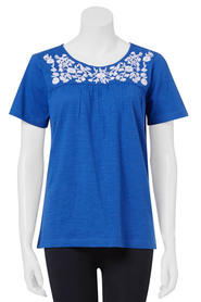SAVANNAH FLORAL EMBROID TEE 07SVT048