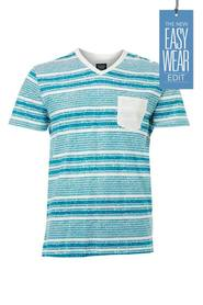 URBAN JEANS CO Printed stripe v neck tshirt