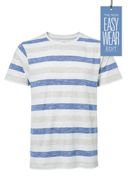 URBAN JEANS CO Slub stripe crew neck tshirt