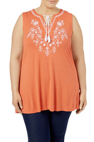 TANIA KAY EMBROIDERED TIE TEE 07TKT023