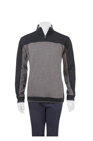BRONSON Contrast panel quarter zip fleece top