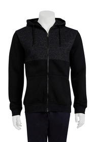 URBAN JEANS CO Spliced zip thru fleece hoody