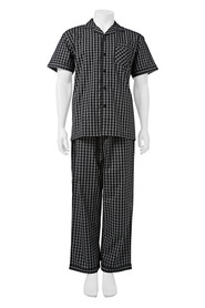 BRONSON Woven Short Slevee And Long Pant Pj Set