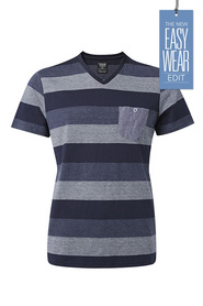 URBAN JEANS CO Yarn dyed blocked stripe v neck tshirt
