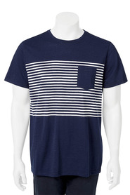 URBAN JEANS CO Short Sleeve Crew Yarn Dye Stripe Tshirt