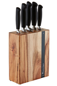 STANLEY  ROGERS Black flash 6 piece acacia knife block