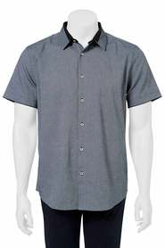 URBAN JEANS CO Diamond jacquard short sleeve shirt