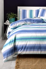 LINEN HOUSE Sea breeze yarn dyed cotton quilt coverset qb