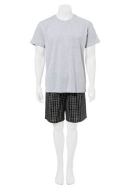 BRONSON Knit Short Slevee And Woven Short Pj Set