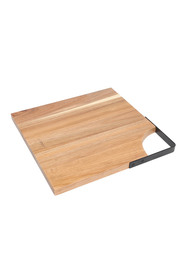 WILTSHIRE Artisan square acacia chopping board with matte black metal handle 30 x30Cm