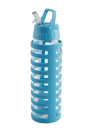 SMITH & NOBEL  Glass Drink Bottle With Silicone Wrap Teal