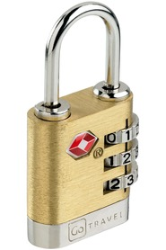GO TRAVEL Brass Travel Sentry Padlock