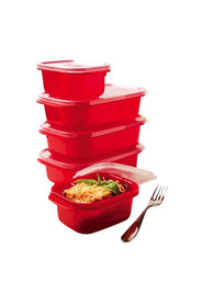 DECOR Microsafe Microwavable 5 Piece Oblong Food Storage Container Set