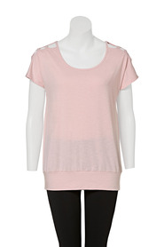 SIMPLY VERA VERA WANG Womenes Short Sleeve Lattice Tee