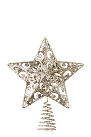 SOREN Winter Wonderland Scroll Star Tree Topper Champagne