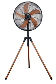 URBANE HOME 45cm Tripod Fan Wood Finish