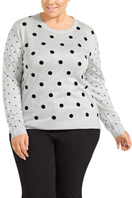 KHOKO COLLECTION Flock Dot Jumper Plus Size