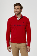 U.S. POLO ASSN. Long Sleeve Cotton Pique Chest Brand Polo