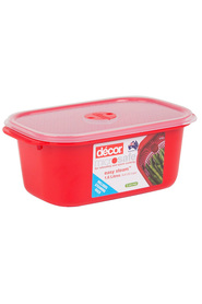 DECOR Microsafe Microwavable Oblong Food Storage Container With Steaming Rack 1.6 Litre