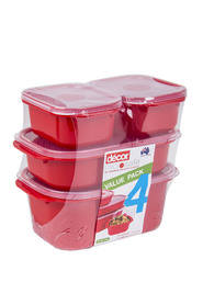 DECOR Microsafe Microwavable Oblong Food Storage Containers 4 Pack Assorted Sizes Container Set