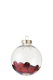 SOREN Classic Clear Bauble with Metallic Confetti Red