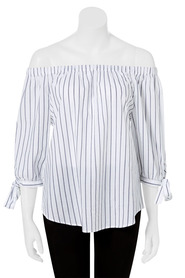 KHOKO COLLECTION Off The Shoulder Yarn Dye Stripe Blouse