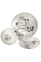 EPOCH LE RESTAURANT 16 PIECE DINNER SET WITH BLACK AND WHITE DESIGN