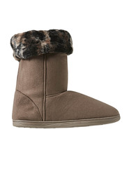 GROSBY Invisible Sabrina Leopard Detail Slipper Boot
