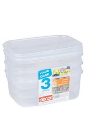 DECOR Tellfresh Plastic Oblong Food Storage Container Set 3 X 1 Litre