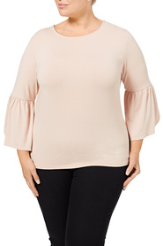 KHOKO COLLECTION Alexis Flute Sleeve Top    Plus Size