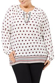 KHOKO COLLECTION Boarder Print Blouse Plus Size