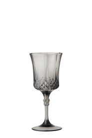 SHAYNNA BLAZE Diamond Wine Glass Smoke Grey