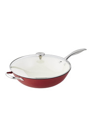 SMITH & NOBEL Light Weight Red Cast Iron Wok 34Cm