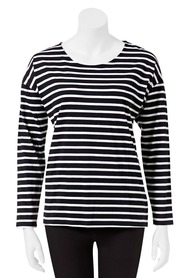 KHOKO COLLECTION Long Sleeve Tram Stripe Top