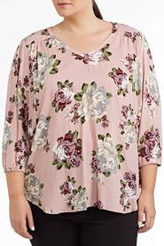 SIMPLY VERA VERA WANG PLUS Floral Print Peasant Top