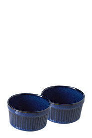 SMITH & NOBEL Reactive Glaze 4pc Ramekin Blue 10x5cm