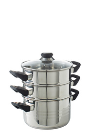 SMITH & NOBEL Traditions Stainless Steel 3 Tier Steamer Set 20cm